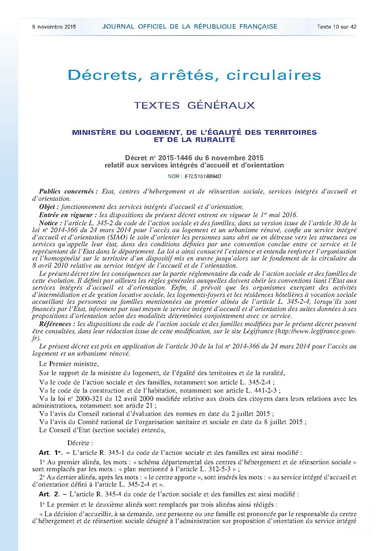Journal officiel de la République française - N° 260 du 8 novembre 2015