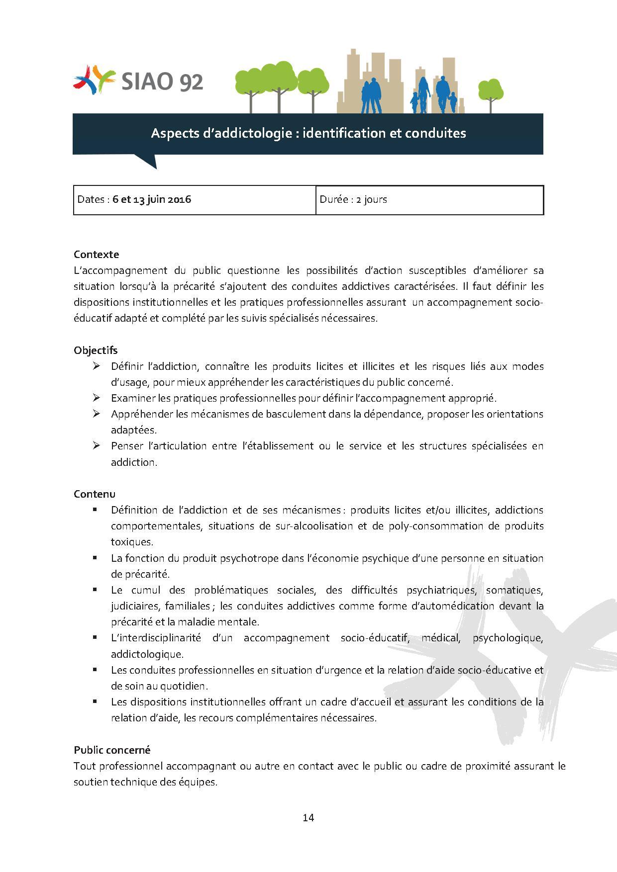 Formation - Aspect d'addictologie des publics, identification et conduites